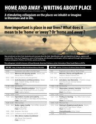 home and away - writing about place - The School of Humanities ...