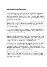 Rob Drewe speech OBD08 - Old Haleians Association