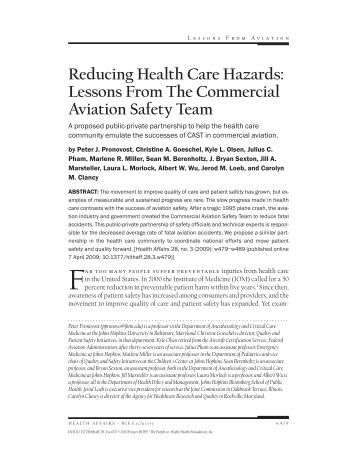 Reducing Health Care Hazards: Lessons From The Commercial ...