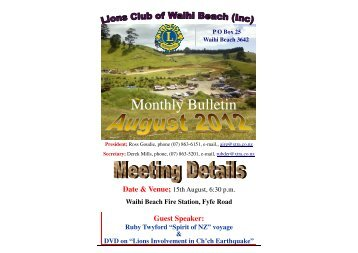 August Bulletin - Lions Clubs New Zealand