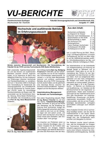 VU - Berichte 17 - Hochschule Esslingen