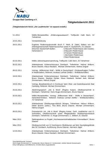 Tätigkeitsbericht 2011 - Nabu Gruppe Bad Camberg