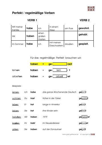 regelmässige und unregelmässige Verben bestimmen