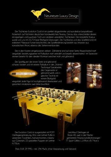 Der Tischkicker Evolution Gold ist ein perfekt abgestimmter - Bayportal