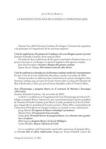 LA SOCIETAT CATALANA DE LLENGUA I LITERATURA ... - RACO