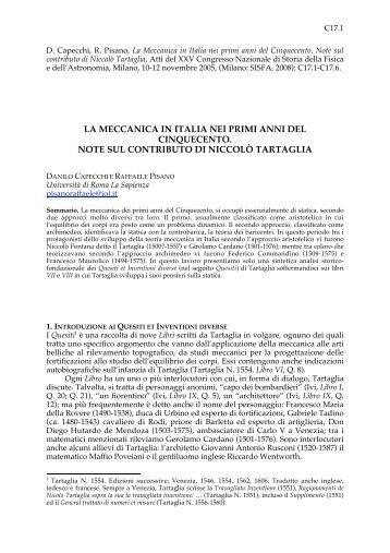 LA MECCANICA IN ITALIA NEI PRIMI ANNI DEL CINQUECENTO ...