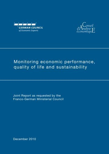 Monitoring economic performance, quality of life and sustainability