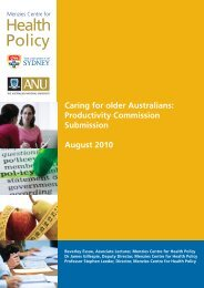 Caring for older Australians: Productivity Commission Submission