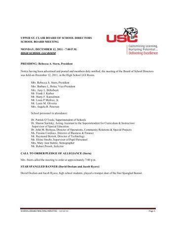 upper st. clair board of school directors school board meeting ...