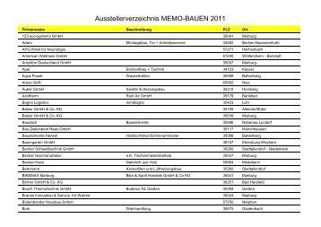 Ausstellerverzeichnis MEMO-BAUEN 2011 - Messe Marburg