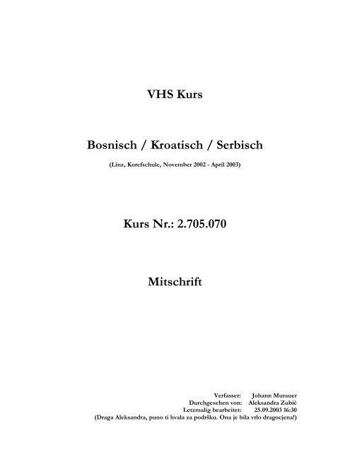 Frohe Weihnachten Serbisch.Vhs Kurs Bosnisch Kroatisch Serbisch Kurs Nr 2 705 070 Mitschrift