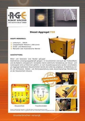 Diesel-Aggregat FOX - RGE Robert Gmeiner Energietechnik GmbH