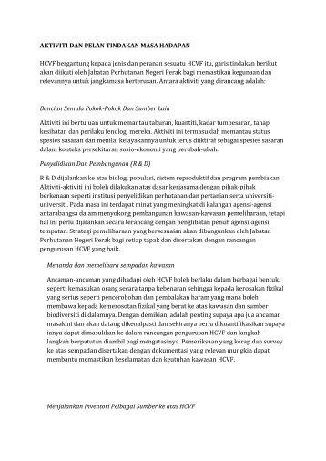 AKTIVITI DAN PELAN TINDAKAN MASA HADAPAN HCVF ...