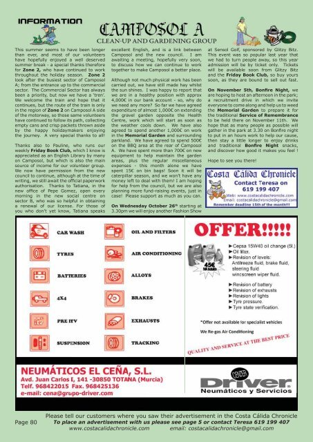 October 2011 Issue - Costa Calida Chronicle