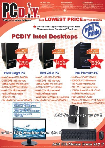 Desktop PC Price List - pcdiy