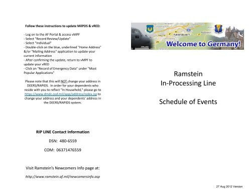 Ramstein In-Processing Line Schedule of Events - Ramstein