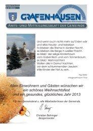 Mitteilungsblatt Nr. 26, KW 51/52 - Gemeinde Grafenhausen