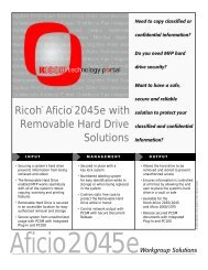 Aficio 2045e with Removable Hard Drive - Ricoh USA