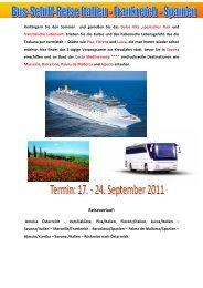 Bus-Schiff-Kombi Costa Med 17.9. - 24.9. - Reisegesellschaft.at
