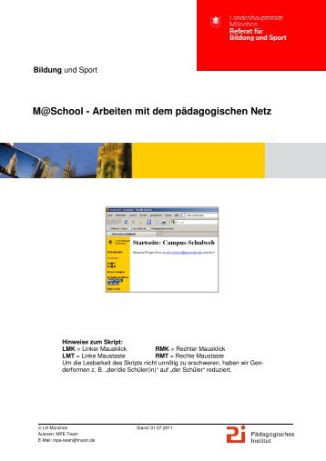 M@School - Arbeiten mit dem pädagogischen Netz - Muc.Kobis