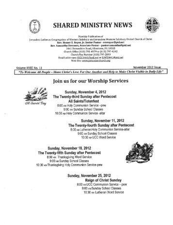 SHARED MINISTRY NEWS - Jerusalem Western Salisbury Church