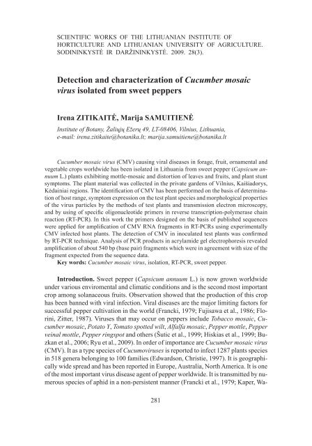 Detection and characterization of Cucumber mosaic virus isolated ...