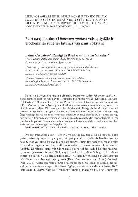 Paprastojo putino (Viburnum opulus) vaisių dydžio ir biocheminės ...