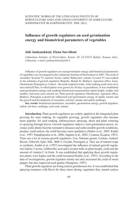 Influence of growth regulators on seed germination energy and ...