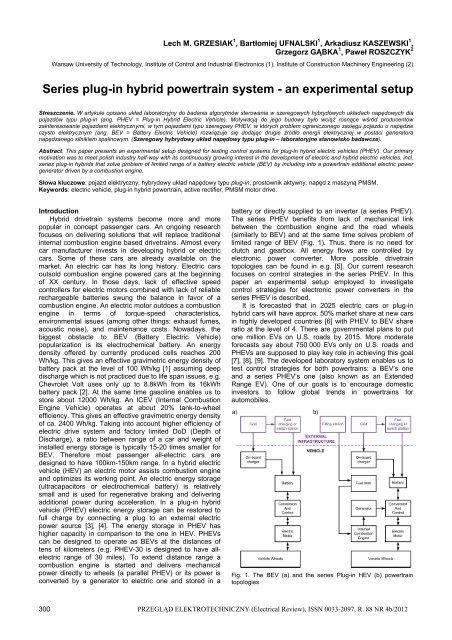 Series plug-in hybrid powertrain system - an experimental setup