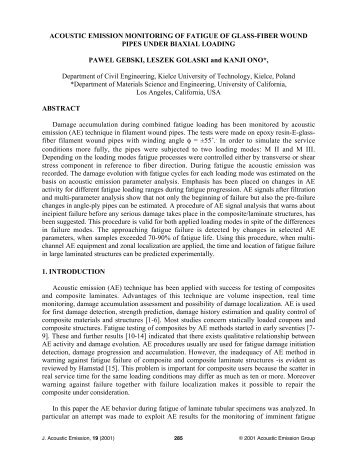 acoustic emission monitoring of fatigue of glass-fiber wound ... - Kielce