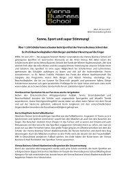Sonne, Sport und super Stimmung! - Vienna Business School
