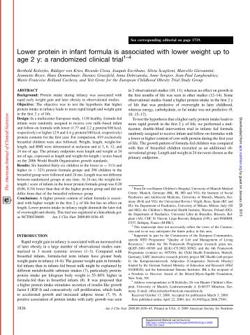 Lower protein in infant formula is associated with - American Journal ...