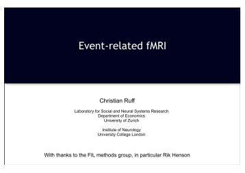 Event-related fMRI - University College London