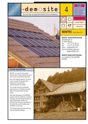 NEWTEC Solar-Roof-Tile SYSTEM DESCRIPTION