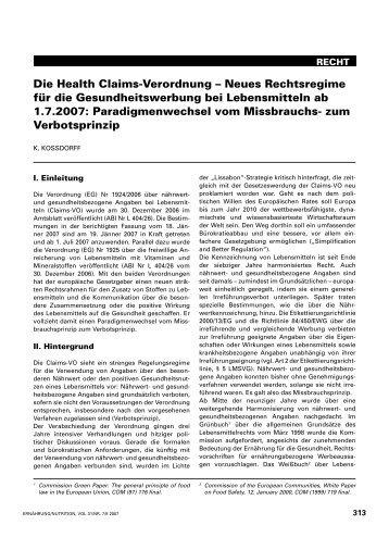 Die Health Claims-Verordnung – Neues Rechtsregime für die ...
