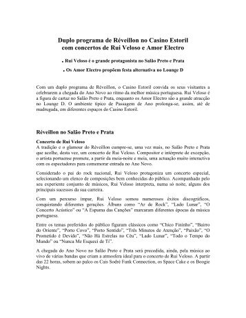 Duplo programa de Réveillon no Casino Estoril ... - Casino Lisboa