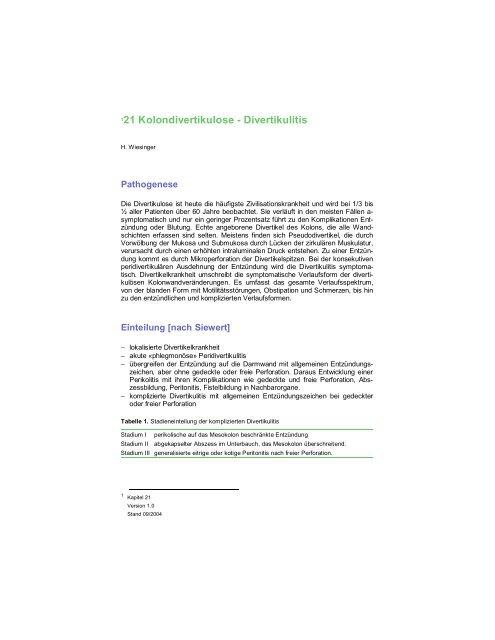 Kolondivertikulose - Divertikulitis