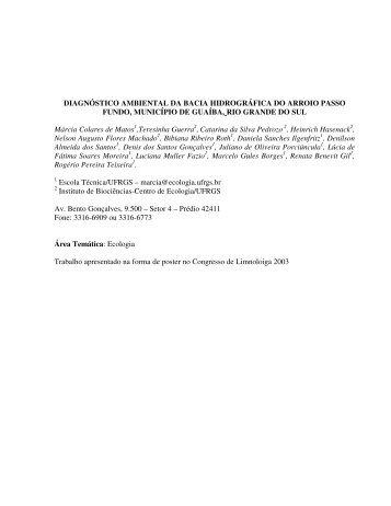 Diagnóstico Ambiental da Bacia Hidrográfica do Arroio Passo