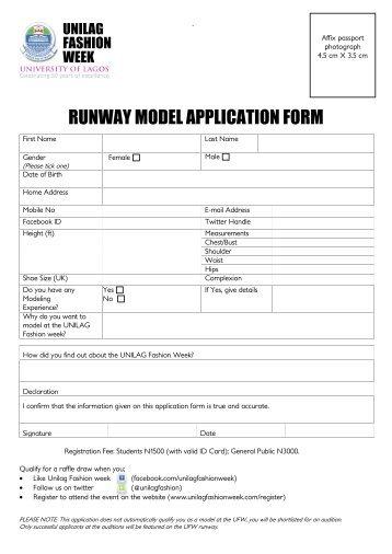 American Girl Fashion Show Model Application