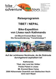 Reiseprogramm TIBET / NEPAL - Bike Adventure Tours