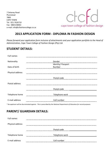 2013 Application Form Cape Town College Of Fashion Design