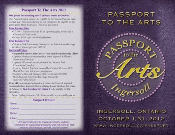 PassPort to the arts PassPort to the arts - Tourism Ingersoll