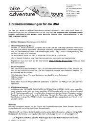 Einreisebestimmungen für die USA - Bike Adventure Tours