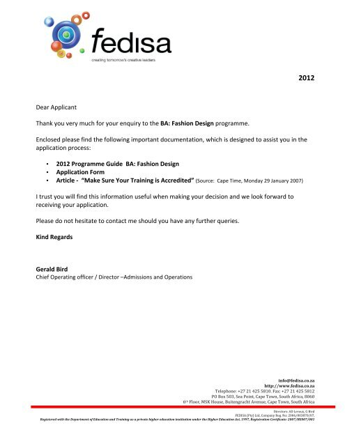 Ba Fashion Design Application Form 2012 Ver11 1 Fedisa