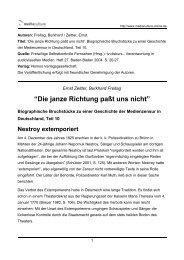"""Die janze Richtung paßt uns nicht"" - Mediaculture online"