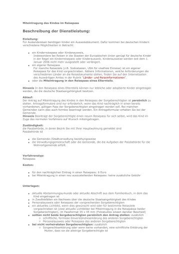 Miteintragung des Kindes im Reisepass.pdf - bei der ...