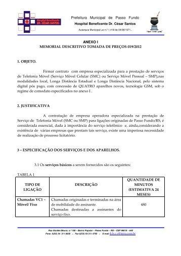 Prefeitura Municipal de Passo Fundo ANEXO I MEMORIAL ...
