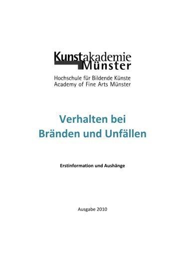 Verhalten bei Bränden und Unfällen - Kunstakademie Münster