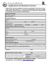 Business License Application - City of Villa Park