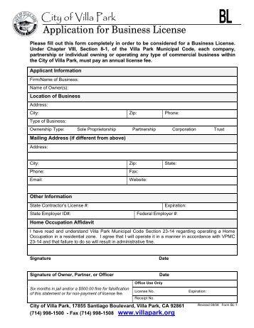 Business License Application - City of Villa Park